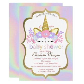 Unicorn,floral,holographic Baby Shower Invitation
