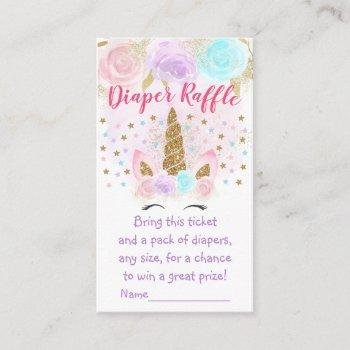 Unicorn Pink & Gold Diaper Raffle Tickets Enclosure Card