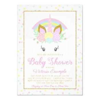 Unicorn Rainbow Girl Baby Shower Invitations