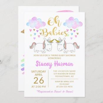 Unicorn Twins Pastel Rainbow Clouds Baby Shower Invitation