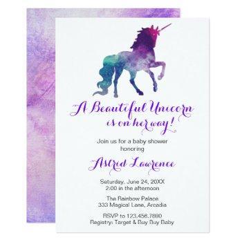 Unicorn Watercolor Silhouette Girl Baby Shower Invitation
