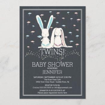 Unique Chalkboard Twin Girl Boy Bunny Baby Shower