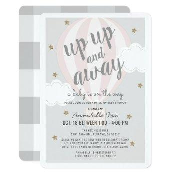 Up Away Hot Air Balloon Pink Drive-by Baby Shower Invitation