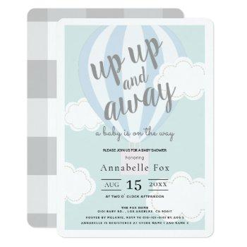 Up Up And Away Blue Hot Air Balloon Baby Shower Invitation