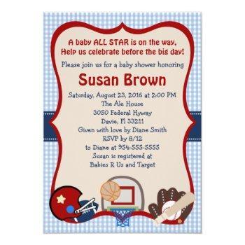 Varsity Sports Baby Shower Invitation