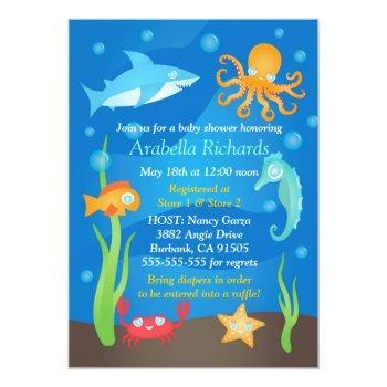 Vibrant Under The Sea Baby Shower Invitations