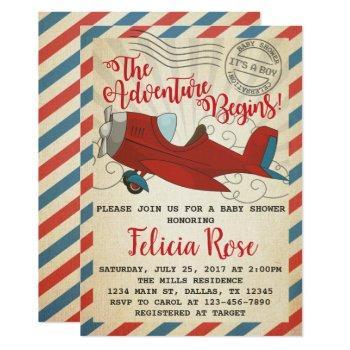 Vintage Airplane Baby Shower Invitation Invite