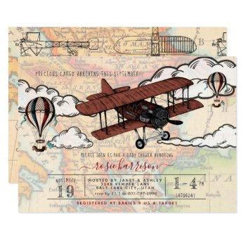 Vintage Airplane | Travel Baby Shower Invitation
