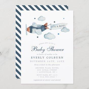 Vintage Airplane Watercolor It's A Boy Baby Shower Invitation