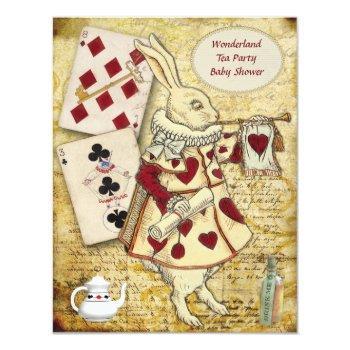 Vintage Alice In Wonderland Rabbit Baby Shower Invitation