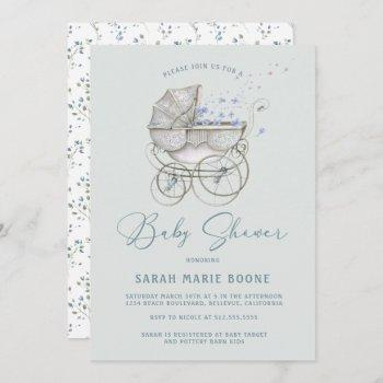 Vintage Baby Carriage Boy Baby Shower Invitation