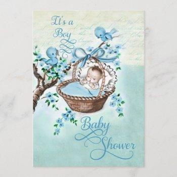 Vintage Baby In Basket And Birds Boys Baby Shower