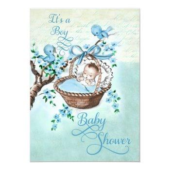 Vintage Baby In Basket And Birds Boys Baby Shower Invitation