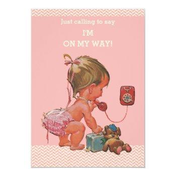 Vintage Baby On Phone Pink Chevrons Baby Shower Invitation