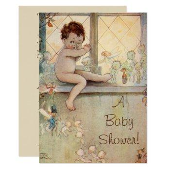 Vintage Baby Peter Pan Baby Shower Invitation