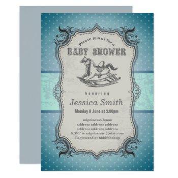 Vintage Baby Shower Invitation - Rocking Horse