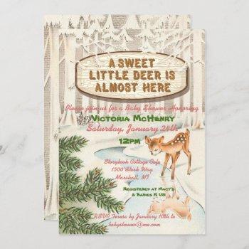 Vintage Baby Shower Winter Woodland Deer Girl