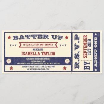 Vintage Baseball Baby Shower Ticket Invitation