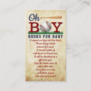 Vintage Baseball Boys Baby Shower Book Request Enclosure Card