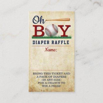 Vintage Baseball Boys Baby Shower Diaper Raffle Enclosure Card
