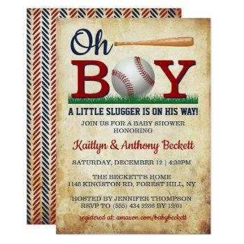 Vintage Baseball Boys Baby Shower Invitations