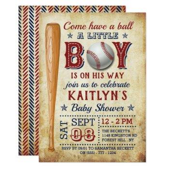 Vintage Baseball Boys Baby Shower Invitations