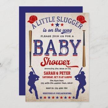 Vintage Baseball,couple, Baby Boy Shower Invitation