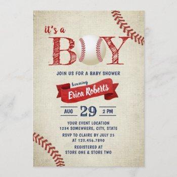 Vintage Baseball Sports Theme Boy Baby Shower Invitation