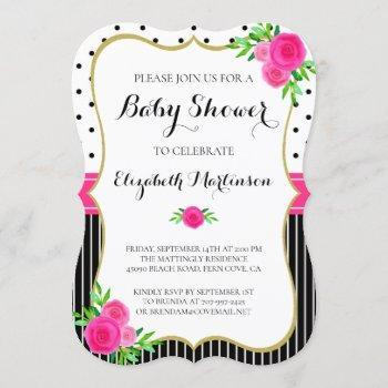 Vintage Black Stripes Dots Pink Floral Baby Shower Invitation