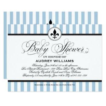 Vintage Blue Fleur De Lis | French Baby Shower Invitation
