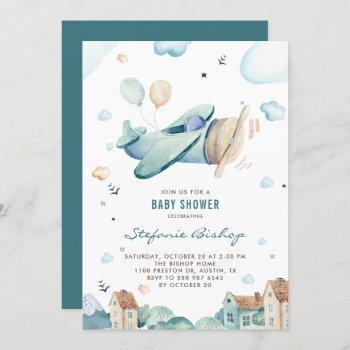 Vintage Blue Watercolor Airplane Boy Baby Shower Invitation