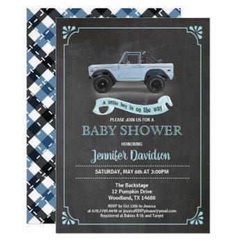 Vintage Car Baby Boy Shower Inviation. Chalkboard. Invitation