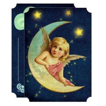 Vintage Cherub & Moon Art Deco Angel Baby Shower Invitation