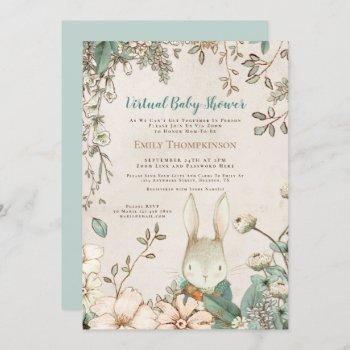 Vintage Cute Bunny Floral Leaf Virtual Baby Shower Invitation