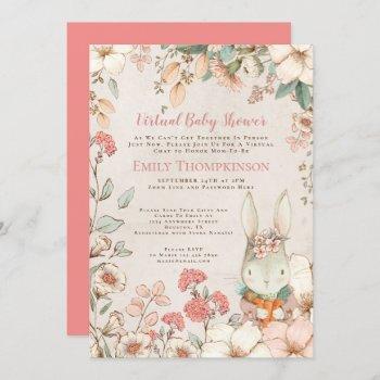 Vintage Cute Bunny Flower Leaf Virtual Baby Shower Invitation
