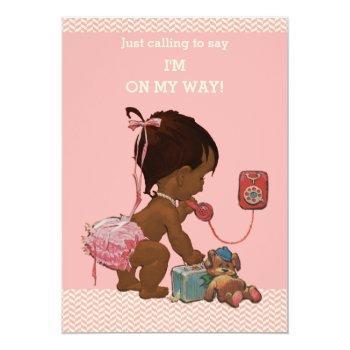 Vintage Ethnic Baby On Phone Baby Shower Chevrons Invitation