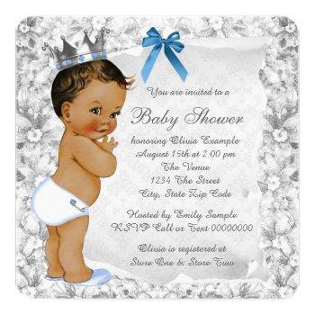 Vintage Ethnic Prince Blue And Gray Baby Shower Invitation