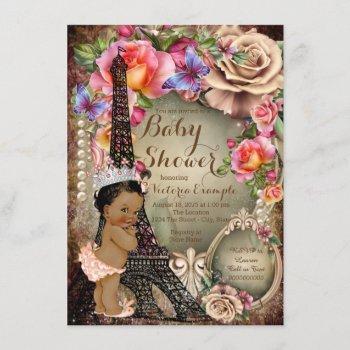 Vintage Ethnic Princess Paris Baby Shower Invitation