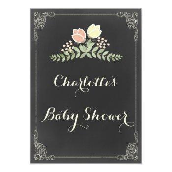 Vintage Floral Laurels Chalkboard Baby Shower Invitation