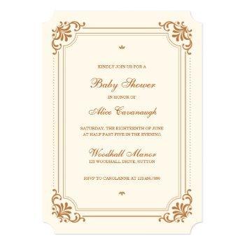 Vintage Flourish Elegant Baby Shower Invitation
