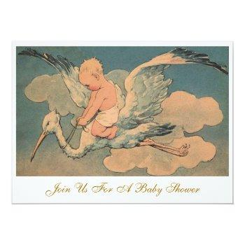 Vintage Flying Stork Elegant Gender Baby Shower Invitation