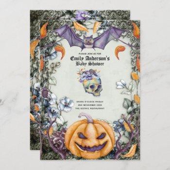 Vintage Goth Skulls Purple Orange Flowers Baby Invitation