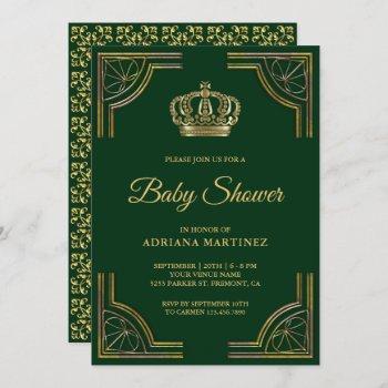 Vintage Green Gold Ornate Crown Baby Shower