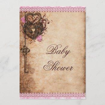 Vintage Hearts Lock And Key Girl Baby Shower