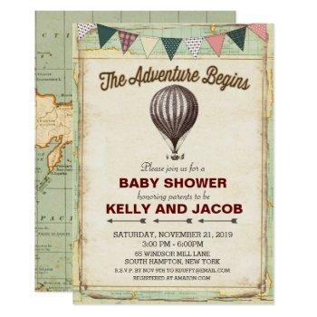 Vintage Hot Air Balloon Baby Shower Invitation