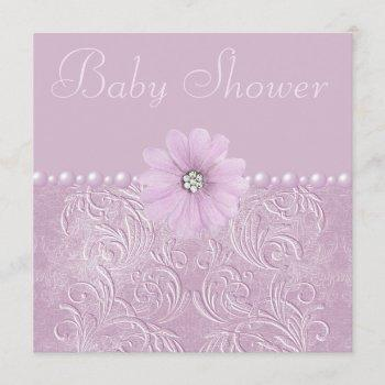 Vintage Lilac Baby Shower Bling Flowers & Pearls Invitation