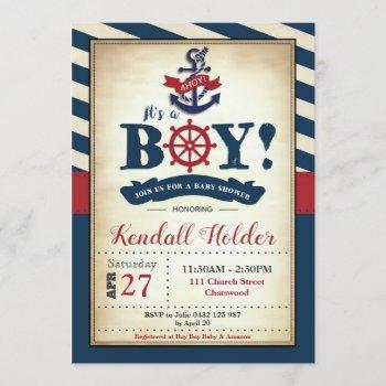 Vintage Nautical Baby Shower Invitation Boy