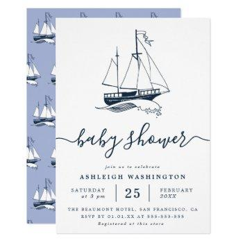 Vintage Navy Ship Nautical Baby Shower Invitation