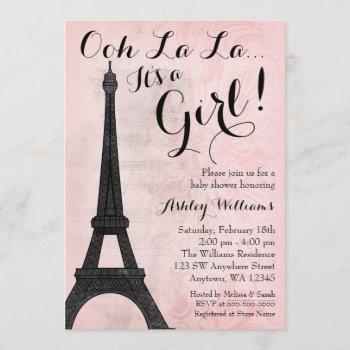 Vintage Paris Pink Black Girl Baby Shower Invitation
