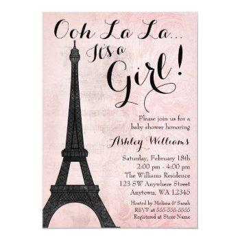 Vintage Paris Pink Black Girl Baby Shower Invitation